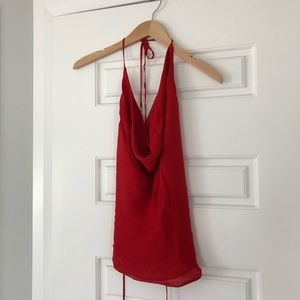 Haute Hippie Red Silk Cowl Neck Backless Tank Top